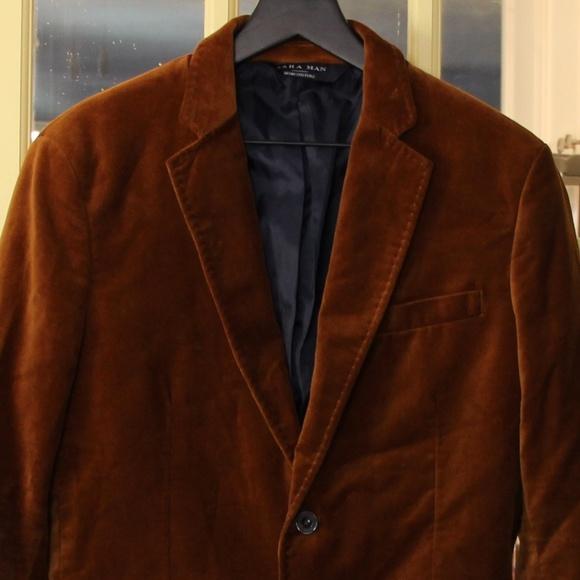 2ecdc524 Zara Suits & Blazers | Man Brown Velvet Sport Coat | Poshmark